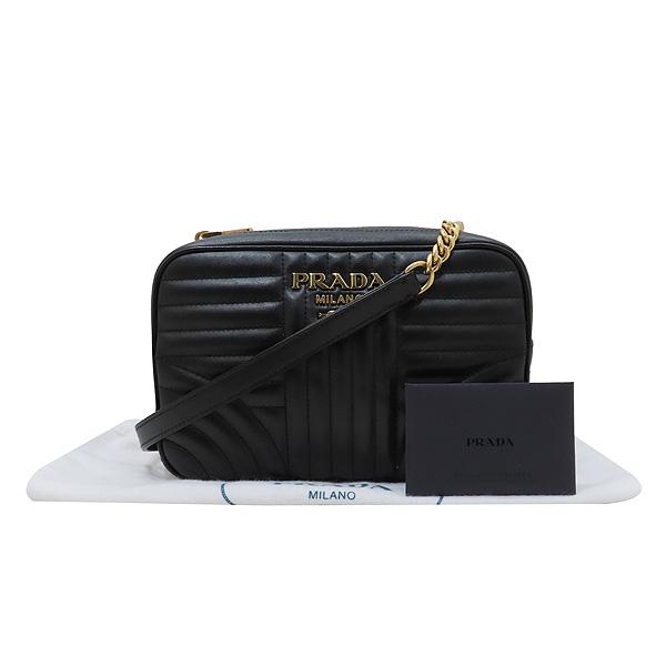 Prada(프라다) 1BH083 블랙 레더 다이아그램 금장 로고 체인 숄더 크로스백 [인천점]