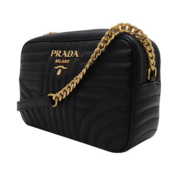 Prada(프라다) 1BH083 블랙 레더 다이아그램 금장 로고 체인 숄더 크로스백 [인천점] 이미지3 - 고이비토 중고명품