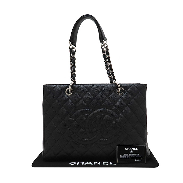 Chanel(샤넬) A50995 캐비어스킨 블랙 그랜드샤핑 은장 체인 숄더백 [인천점]