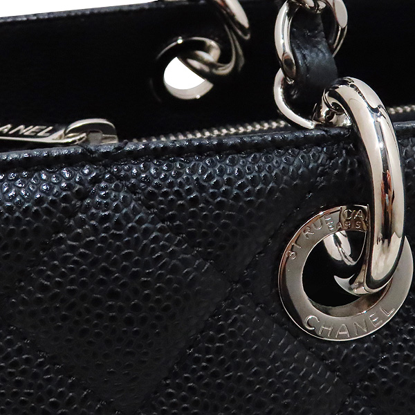 Chanel(샤넬) A50995 캐비어스킨 블랙 그랜드샤핑 은장 체인 숄더백 [인천점] 이미지5 - 고이비토 중고명품