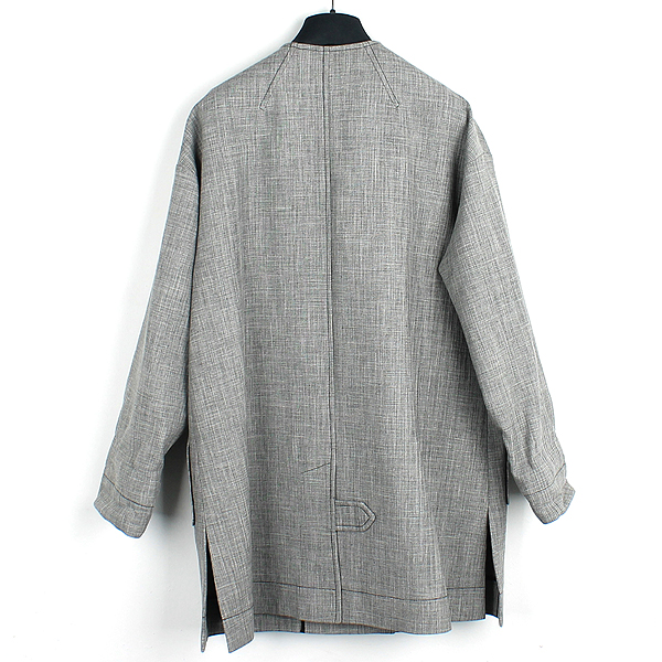 Dior(크리스챤디올) 7C21806UI358 울 + 비스코사 + 린넨 혼방 그레이 컬러 스카프 장식 여성용 코트 [강남본점] 이미지3 - 고이비토 중고명품