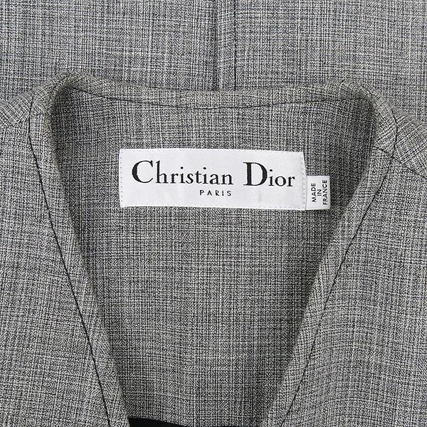 Dior(크리스챤디올) 7C21806UI358 울 + 비스코사 + 린넨 혼방 그레이 컬러 스카프 장식 여성용 코트 [강남본점] 이미지4 - 고이비토 중고명품