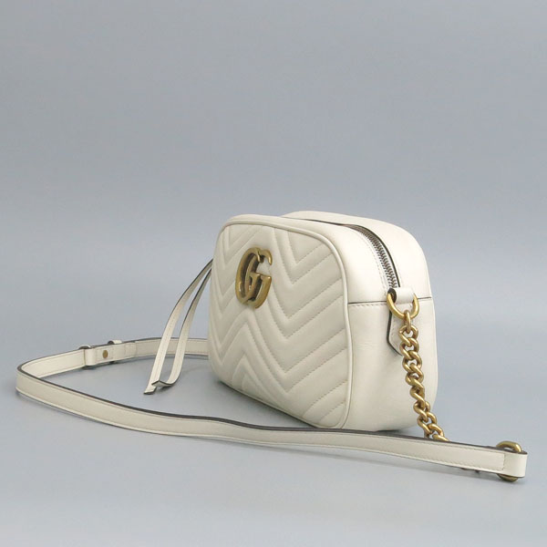Gucci(구찌) 447632 화이트 컬러 레더 GG Marmont(마몬트) 마틀라세 금장로고 체인 크로스백 [동대문점] 이미지2 - 고이비토 중고명품