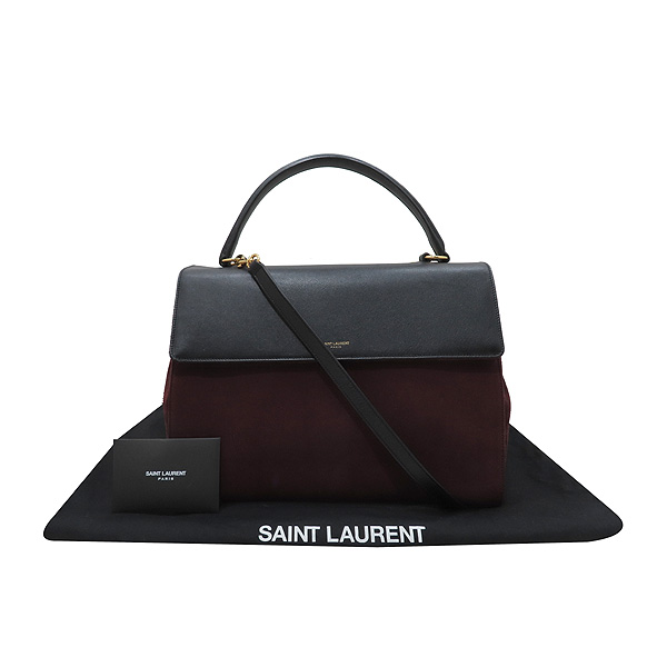 YSL(입생로랑) SAINTLAURENT PARIS(생로랑파리) 355156 블랙 레더 버건디 컬러 스웨이드 플랩 무직 토트백 + 숄더스트랩 [인천점]