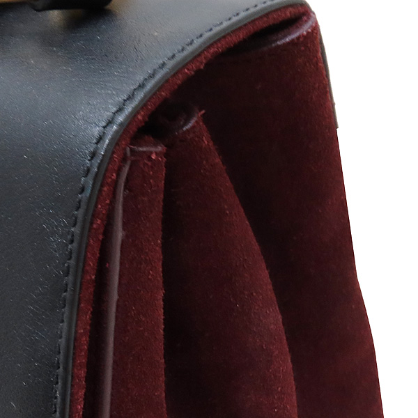 YSL(입생로랑) SAINTLAURENT PARIS(생로랑파리) 355156 블랙 레더 버건디 컬러 스웨이드 플랩 무직 토트백 + 숄더스트랩 [인천점] 이미지5 - 고이비토 중고명품