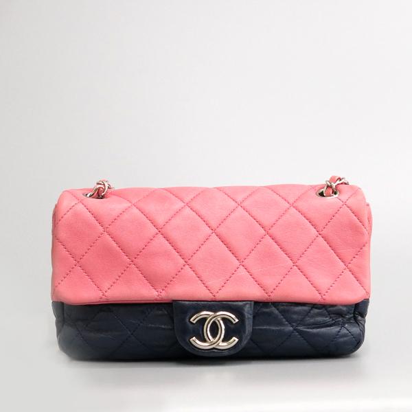 Chanel(샤넬) 핑크 / 다크 퍼플 투톤 레더 퀼팅 플랩 은장 체인 숄더백 [동대문점] 이미지2 - 고이비토 중고명품