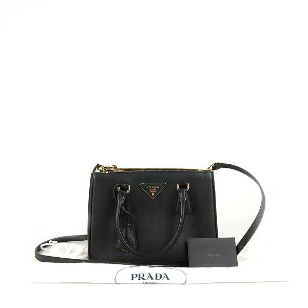 Prada(프라다) 1BA896 블랙 사피아노 럭스 S사이즈 토트백+숄더스트랩 2WAY [강남본점]