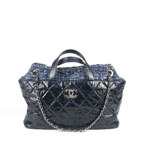 Chanel(샤넬) 네이비 빈티지 카프 레더 트위드 트리밍 포르투벨로 COCO로고 2WAY [강남본점] 이미지2 - 고이비토 중고명품
