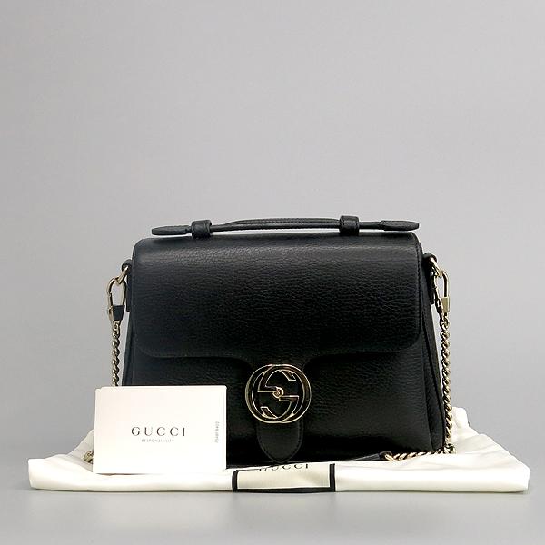 Gucci(구찌) 510302 블랙 레더 금장 아이콘 인터로킹 탑핸들 체인 숄더백 [동대문점]