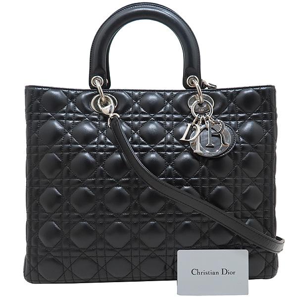 Dior(크리스챤디올) CAL44561 블랙 램스킨 Lady Dior 레이디 디올 까나쥬 라지 토트백 + 숄더스트랩 [인천점]