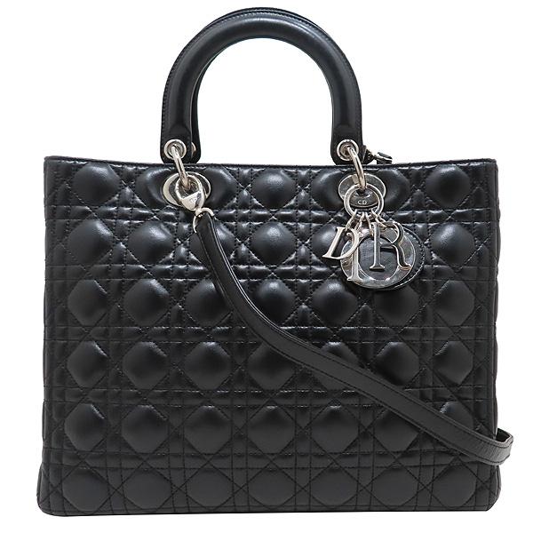 Dior(크리스챤디올) CAL44561 블랙 램스킨 Lady Dior 레이디 디올 까나쥬 라지 토트백 + 숄더스트랩 [인천점] 이미지2 - 고이비토 중고명품