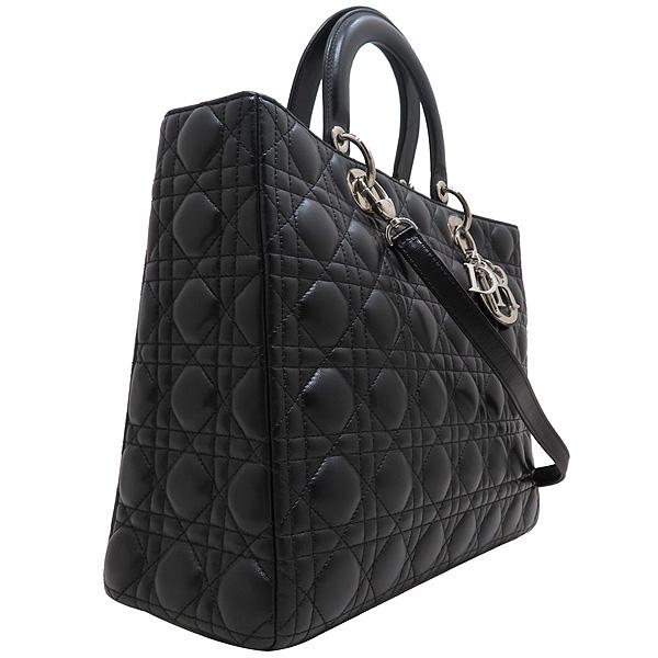 Dior(크리스챤디올) CAL44561 블랙 램스킨 Lady Dior 레이디 디올 까나쥬 라지 토트백 + 숄더스트랩 [인천점] 이미지3 - 고이비토 중고명품