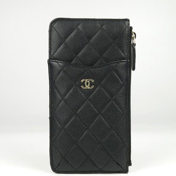 Chanel(샤넬) A81598 블랙 캐비어스킨 금장 COCO 로고 미니 클래식 클러치 겸 미니지갑 [강남본점] 이미지2 - 고이비토 중고명품