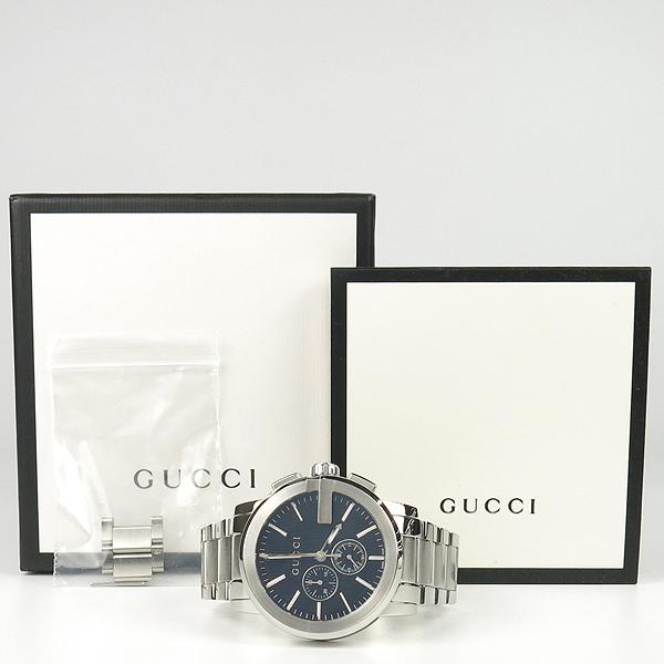 Gucci(구찌) YA101204 블랙 다이얼 G 크로노 크로노그래프 44mm 쿼츠 스틸 남성용 시계 [잠실점]