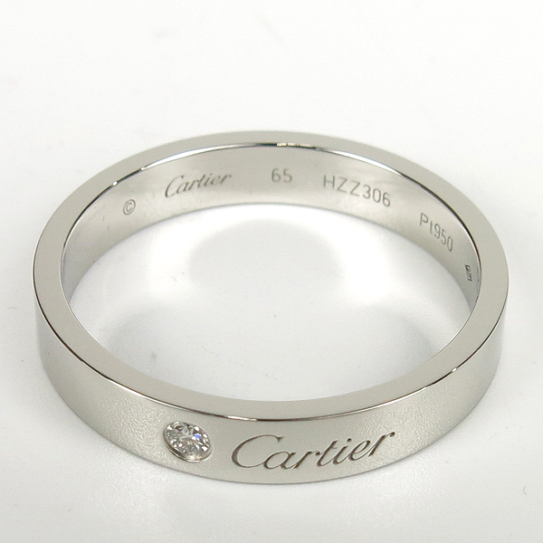 Cartier(까르띠에) B4098265  PT950(플레티늄) C de Cartier (C 드 까르띠에)  1포인트 다이아 웨딩 밴드 4MM반지 - 25호 [강남본점] 이미지3 - 고이비토 중고명품