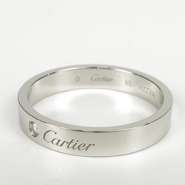 Cartier(까르띠에) B4098265  PT950(플레티늄) C de Cartier (C 드 까르띠에)  1포인트 다이아 웨딩 밴드 4MM반지 - 25호 [강남본점] 이미지4 - 고이비토 중고명품