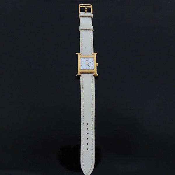 Hermes(에르메스) HH1.201 H아워 금장 가죽밴드 여성용 시계 [대전본점]