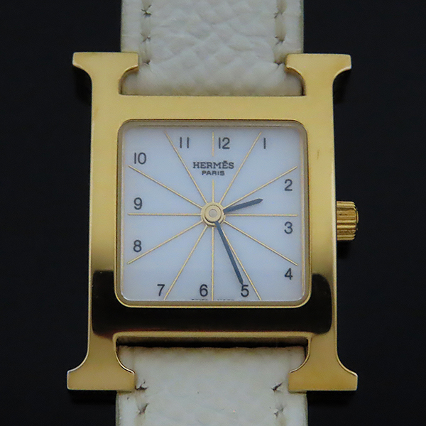 Hermes(에르메스) HH1.201 H아워 금장 가죽밴드 여성용 시계 [대전본점] 이미지2 - 고이비토 중고명품