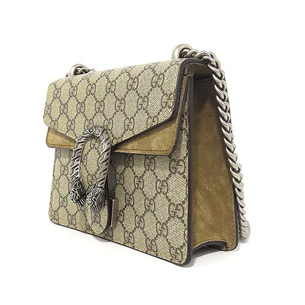 Gucci(구찌) 421970 GG로고 PVC 캔버스 브라운 스웨이드 디오니소스 타이거 락 체인 미니 숄더백 [대전본점] 이미지3 - 고이비토 중고명품