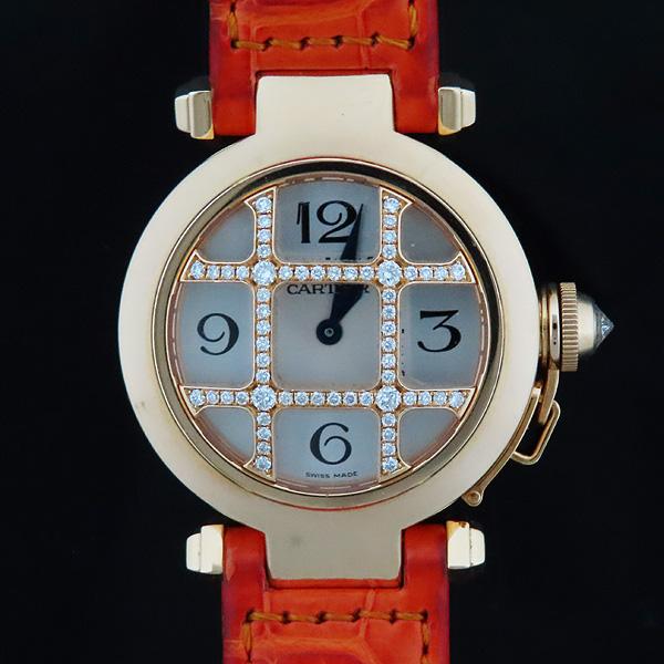 Cartier(까르띠에) WJ11951G PASHA DE CARTIER(파샤 드 까르띠에) 750(18K) 핑크 골드 크로커다일 오렌지 컬러 가죽 밴드 쿼츠 여성용 시계 [인천점] 이미지2 - 고이비토 중고명품
