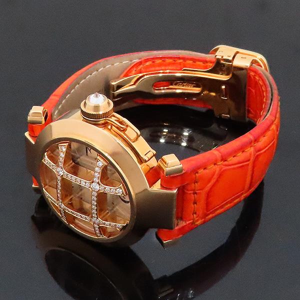 Cartier(까르띠에) WJ11951G PASHA DE CARTIER(파샤 드 까르띠에) 750(18K) 핑크 골드 크로커다일 오렌지 컬러 가죽 밴드 쿼츠 여성용 시계 [인천점] 이미지3 - 고이비토 중고명품