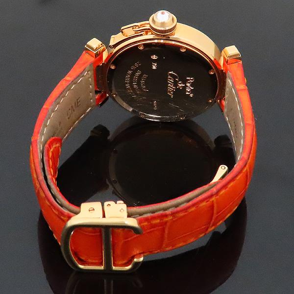 Cartier(까르띠에) WJ11951G PASHA DE CARTIER(파샤 드 까르띠에) 750(18K) 핑크 골드 크로커다일 오렌지 컬러 가죽 밴드 쿼츠 여성용 시계 [인천점] 이미지4 - 고이비토 중고명품