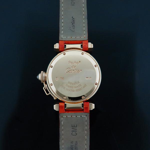 Cartier(까르띠에) WJ11951G PASHA DE CARTIER(파샤 드 까르띠에) 750(18K) 핑크 골드 크로커다일 오렌지 컬러 가죽 밴드 쿼츠 여성용 시계 [인천점] 이미지6 - 고이비토 중고명품