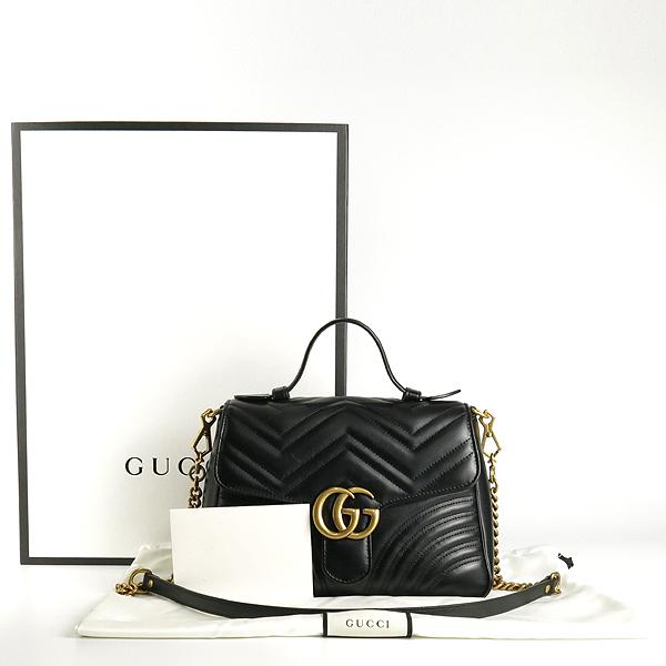 Gucci(구찌) 498110 블랙 레더 마틀라쎄 금장 마몬트 탑 핸들 토트백+ 숄더스트랩 2WAY [잠실점]