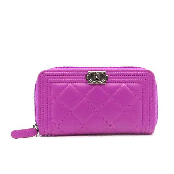 Chanel(샤넬) A80566 퍼플 컬러 램스킨 은장 보이 집업 중지갑 [잠실점] 이미지2 - 고이비토 중고명품