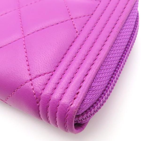 Chanel(샤넬) A80566 퍼플 컬러 램스킨 은장 보이 집업 중지갑 [잠실점] 이미지5 - 고이비토 중고명품