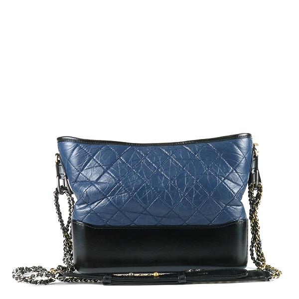Chanel(샤넬) A93824 빈티지 카프스킨 네이비 블랙 투톤 컬러 가브리엘 호보 골드 실버 메탈 체인 숄더 겸 크로스백 [강남본점] 이미지2 - 고이비토 중고명품