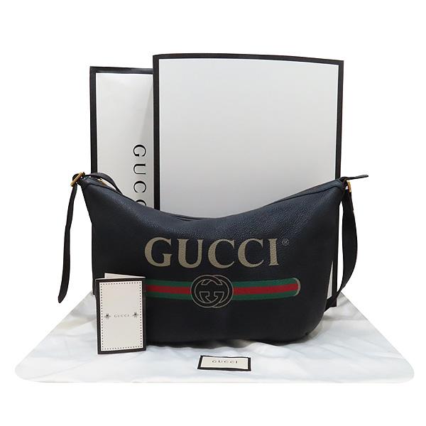 Gucci(구찌) 523588 블랙 레더 GUCCI 프린팅 호보 숄더백 겸 크로스백 [인천점]