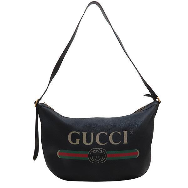 Gucci(구찌) 523588 블랙 레더 GUCCI 프린팅 호보 숄더백 겸 크로스백 [인천점] 이미지2 - 고이비토 중고명품