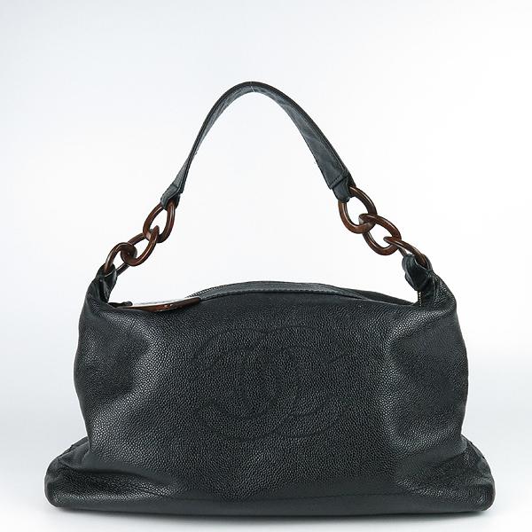 Chanel(샤넬) 블랙 캐비어스킨 coco 로고 호보 숄더백 [강남본점]