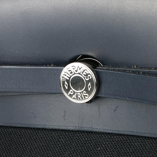 Hermes(에르메스) 에르라인 블랙 패브릭 네이비 레더 혼방 집업 에르백 GM 토트백 + 숄더스트랩 2WAY [강남본점] 이미지4 - 고이비토 중고명품
