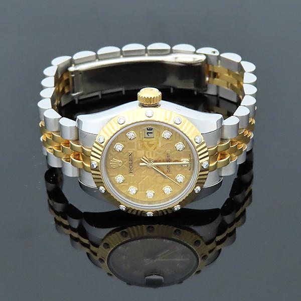 Rolex(로렉스) 179313 18K 옐로우골드 콤비 베젤 12포인트 다이아 컴퓨터판 DATEJUST(데이저스트) 26mm 여성용 시계 [부산서면롯데점] 이미지4 - 고이비토 중고명품