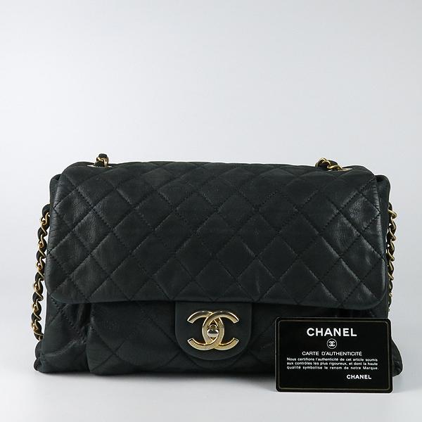 Chanel(샤넬) 블랙 레더 퀼팅 COCO 빈티지 금장 로고 체인 숄더백 [강남본점]