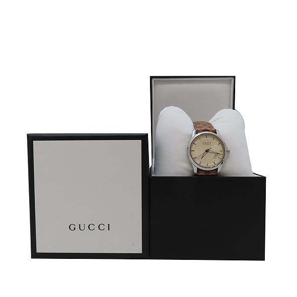 Gucci(구찌) 126.4 디아망떼 다이얼 바 인덱스 데이트 오토매틱 브라운 가죽 브레이슬릿 시계 [인천점]