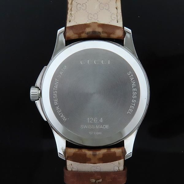 Gucci(구찌) 126.4 디아망떼 다이얼 바 인덱스 데이트 오토매틱 브라운 가죽 브레이슬릿 시계 [인천점] 이미지7 - 고이비토 중고명품
