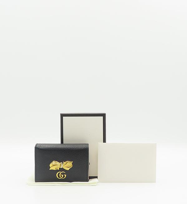 Gucci(구찌) 524289 블랙 레더 금장 보우 장식 마몬트 카드 겸 명함 미니지갑 [분당정자점]