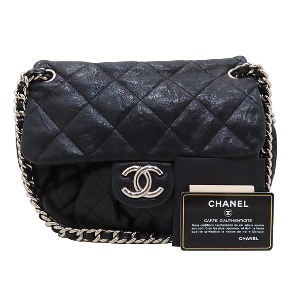 Chanel(샤넬) 블랙 카프스킨 은장 체인 어라운드 CC 플랩 크로스바디 숄더백 [인천점]
