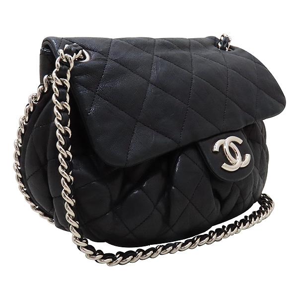 Chanel(샤넬) 블랙 카프스킨 은장 체인 어라운드 CC 플랩 크로스바디 숄더백 [인천점] 이미지2 - 고이비토 중고명품