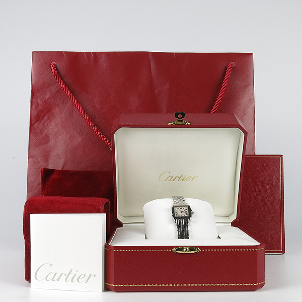 Cartier(까르띠에) W25064Z5 SANTOS DEMOISELLE 산토스 드모아젤 쿼츠 스몰 S사이즈 화이트다이얼 블루핸즈 스틸 여성용시계 [강남본점]