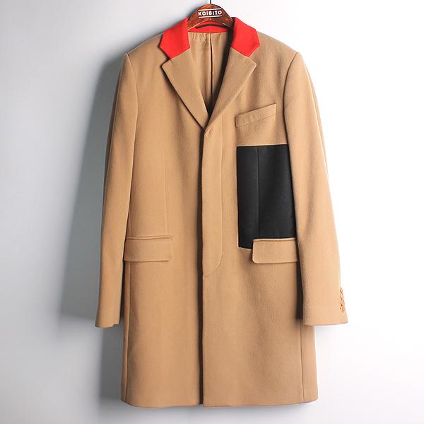 GIVENCHY(지방시) 울 혼방 베이지 컬러 레드/네이비 배색 남성용 코트 [강남본점]