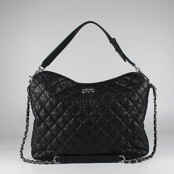 Chanel(샤넬) 블랙 컬러 캐비어스킨 FRENCH RIVIERA (프렌치 리비에라) 호보 은장 로고 체인 숄더백 [강남본점] 이미지2 - 고이비토 중고명품