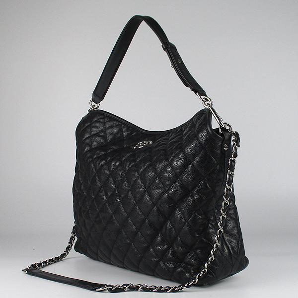 Chanel(샤넬) 블랙 컬러 캐비어스킨 FRENCH RIVIERA (프렌치 리비에라) 호보 은장 로고 체인 숄더백 [강남본점] 이미지3 - 고이비토 중고명품