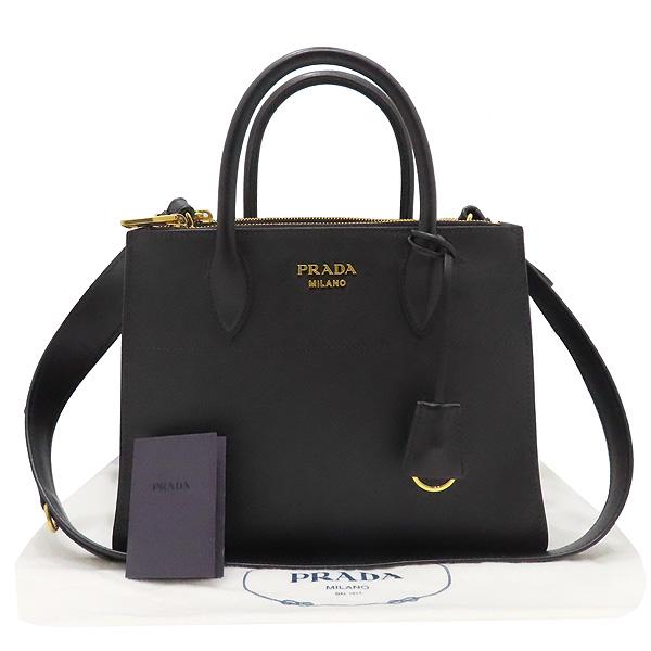 Prada(프라다) 1BA103 SAFFIANO 사피아노 블랙 파라디그마 금장 로고 토트백 + 숄더스트랩 2WAY [인천점]