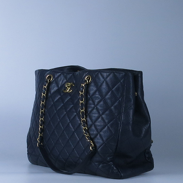 Chanel(샤넬) A91046 캐비어스킨 블랙 퀼팅 금장 로고 장식 타임리스 쇼핑 체인 숄더백 [강남본점] 이미지3 - 고이비토 중고명품