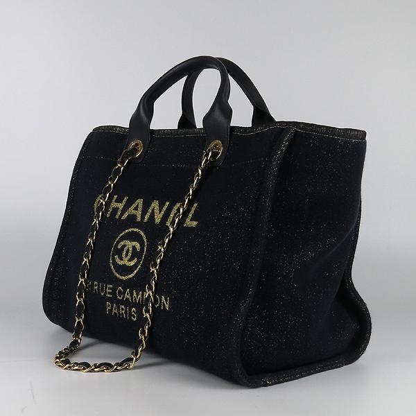 Chanel(샤넬) A66942  31 RUE CAMBON PARIS 골드 로고 스티치 데님 도빌 L 사이즈 쇼퍼 2WAY [강남본점] 이미지3 - 고이비토 중고명품